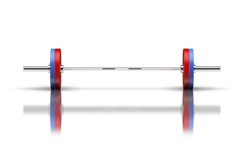 Olympia-Langhantelstange mit Gewichten.